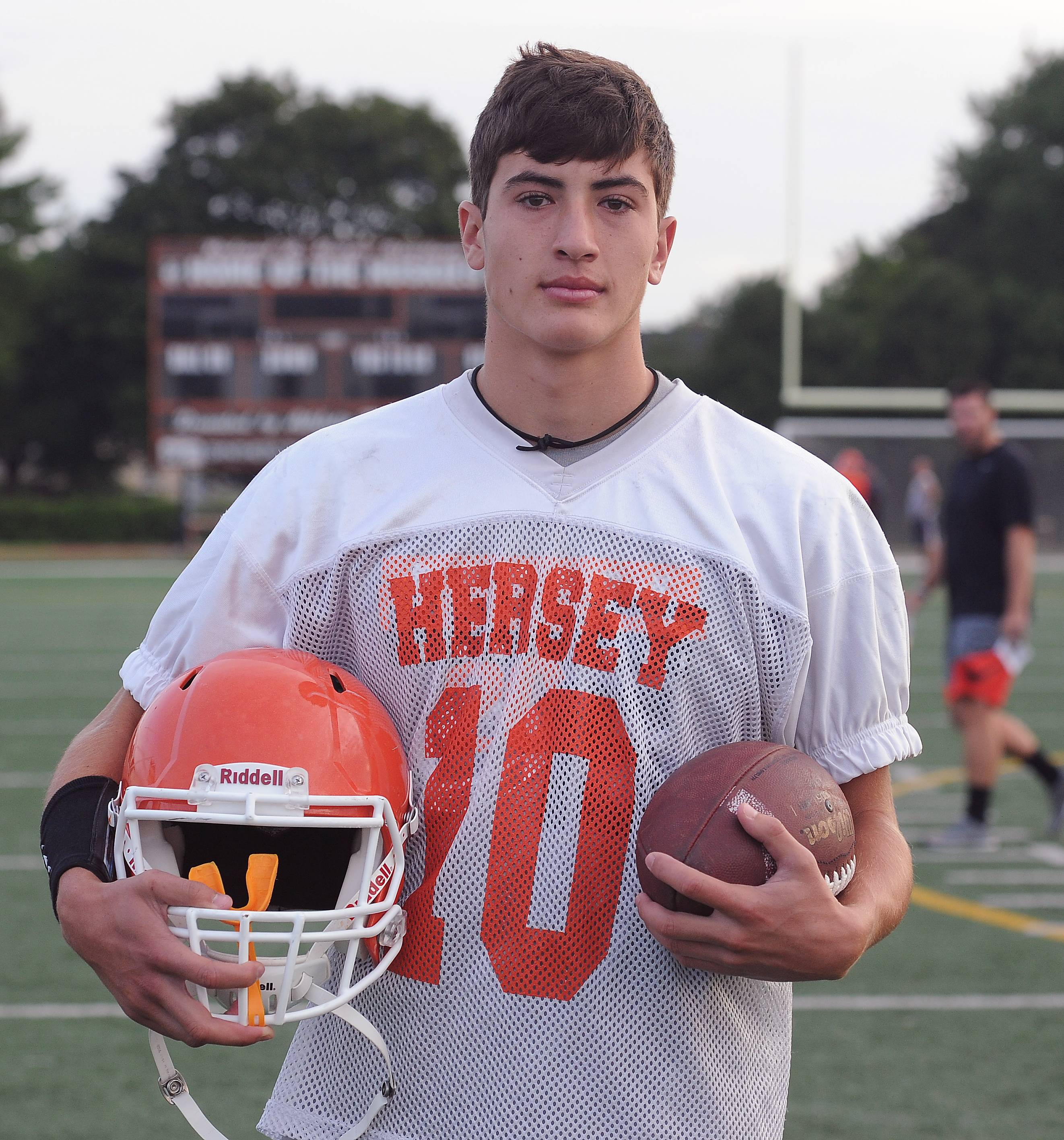 Hersey football player Zak Karman, WR and CB.
