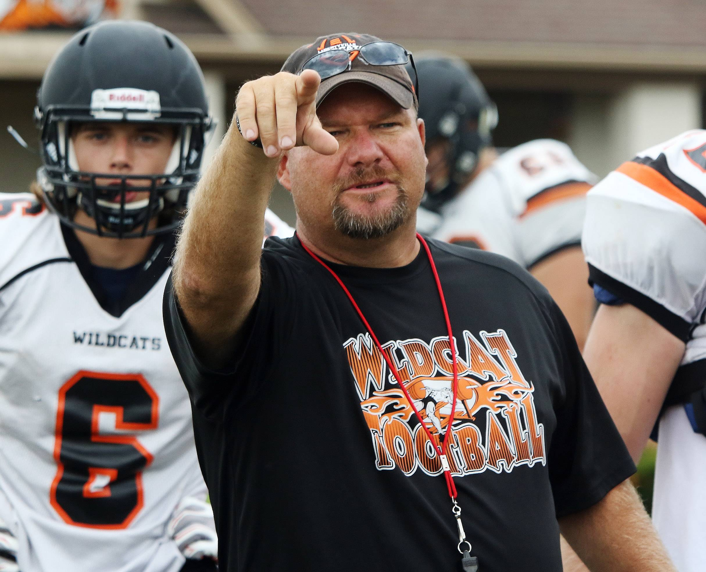 Ccoach Mike Jones during football practice at Libertyville.