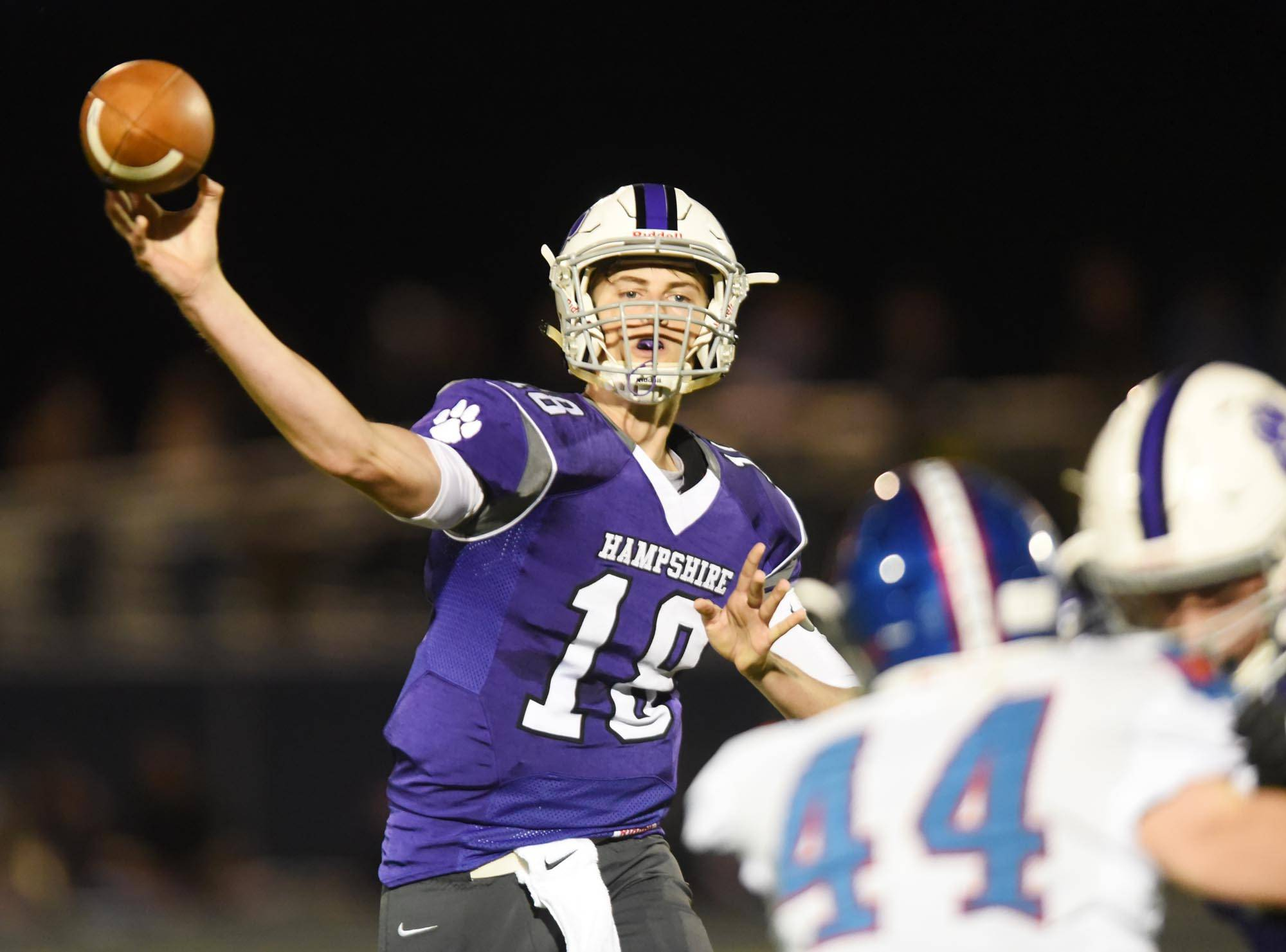 Hampshire's Drew Dalby throws a pass against Dundee-Crown Friday at Hampshire High School.