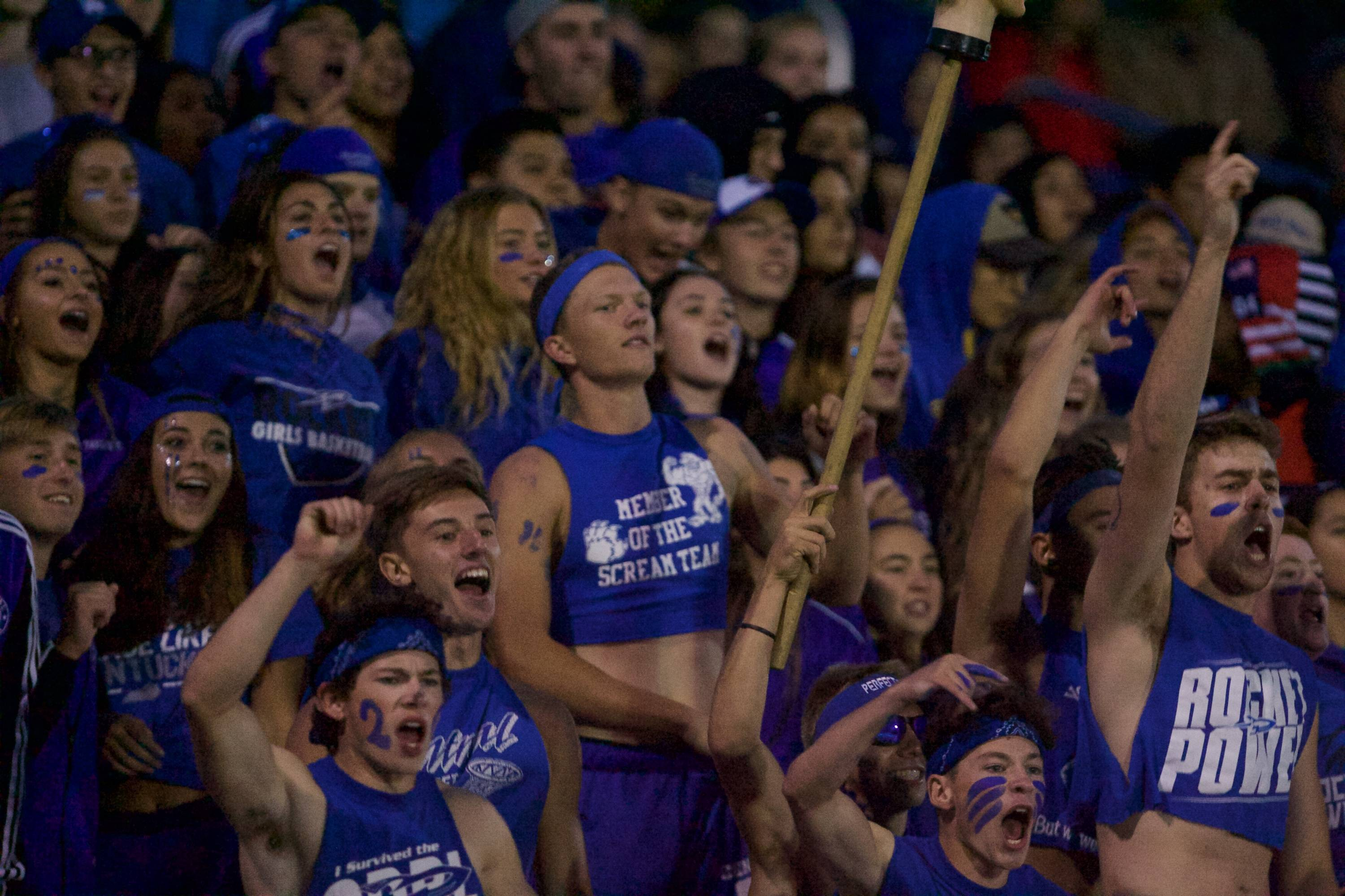 Burlington Central students cheer on the Rockets against Hampshire on Sept 1 in Burlington.