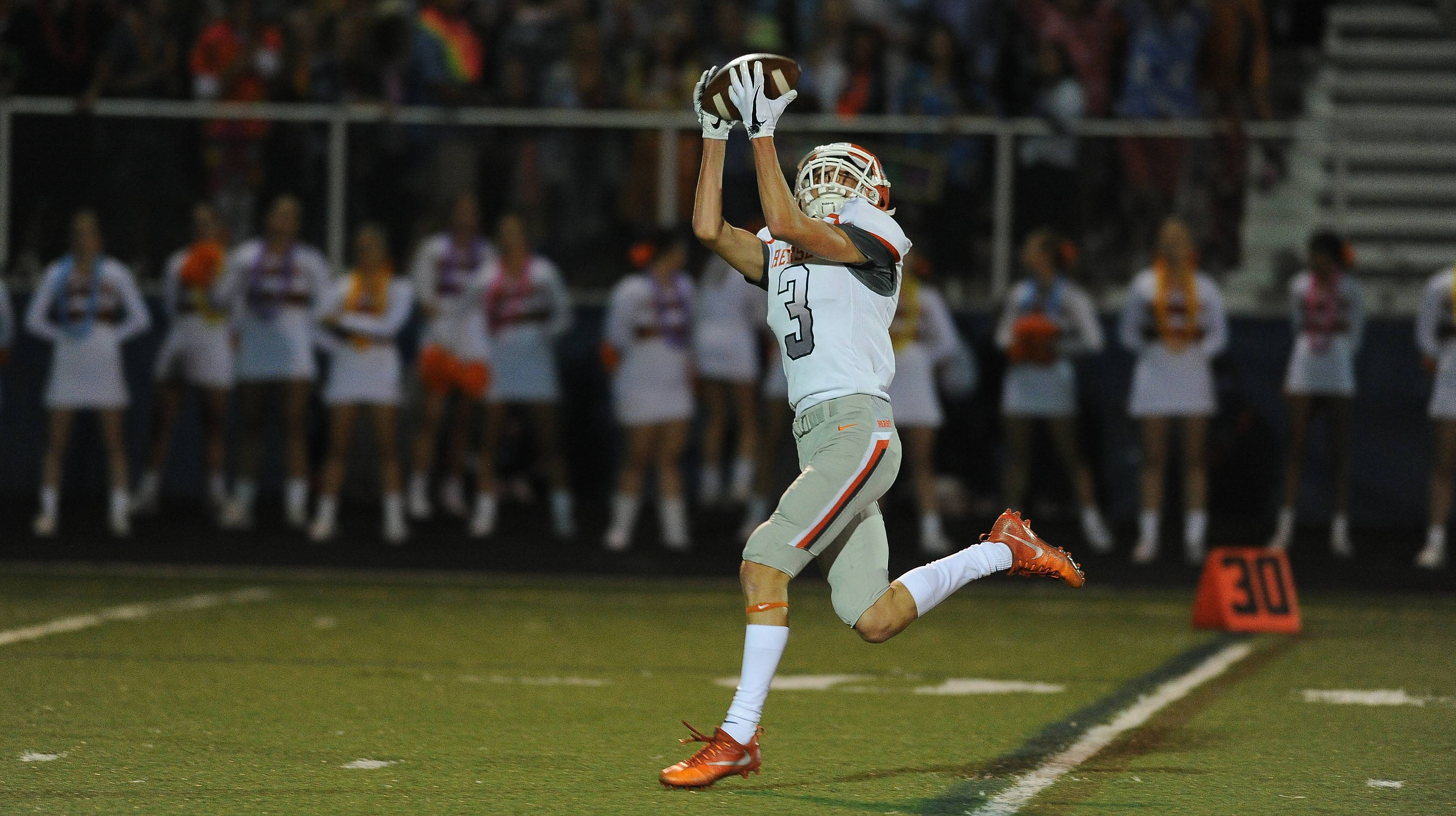 Hersey's Sean Watters hauls in a 65-yard touchdown pass in the first half Friday.