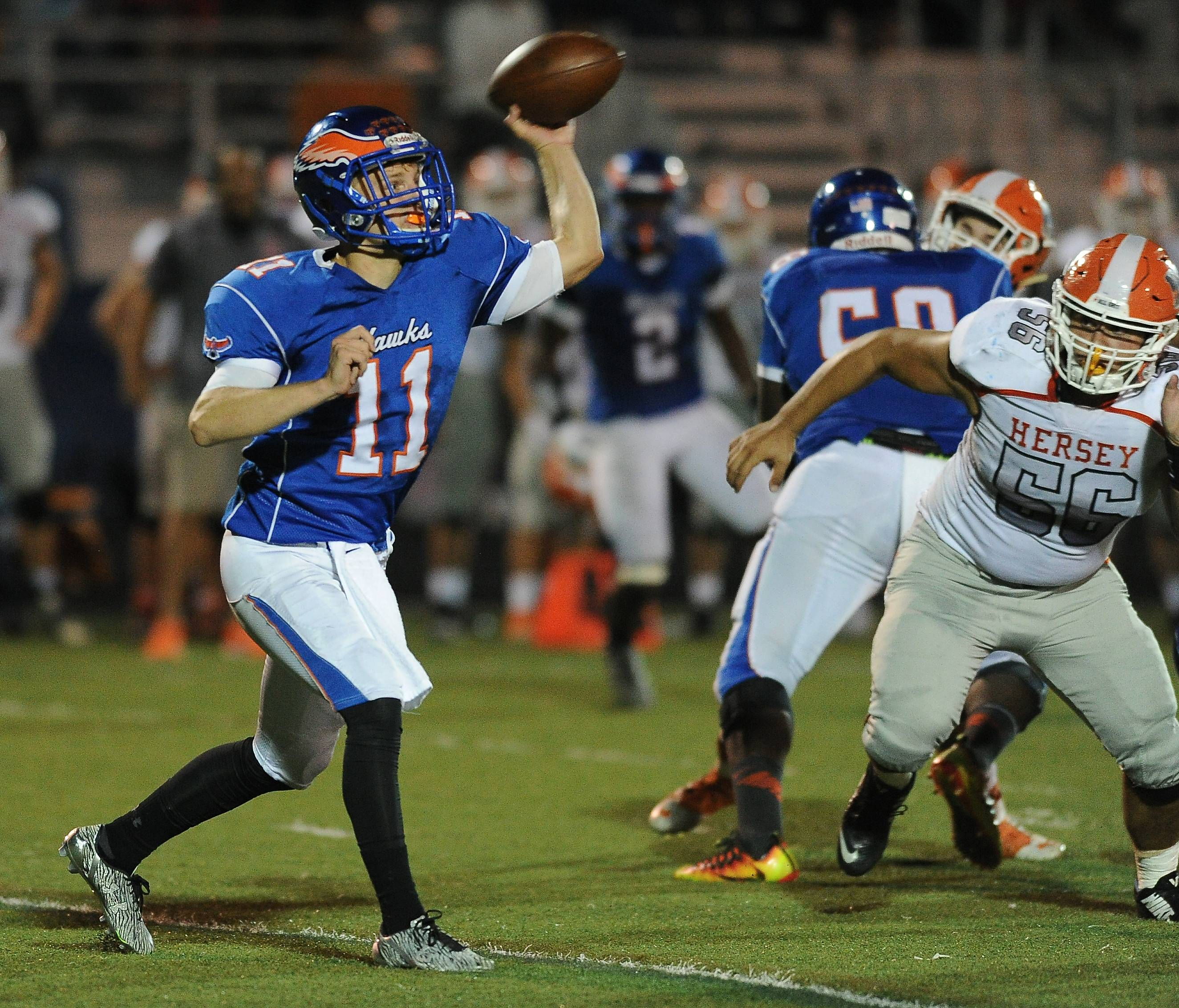 Hoffman Estates quarterback Austin Coalson delivers to his receiver in the first half Friday against visiting Hersey.