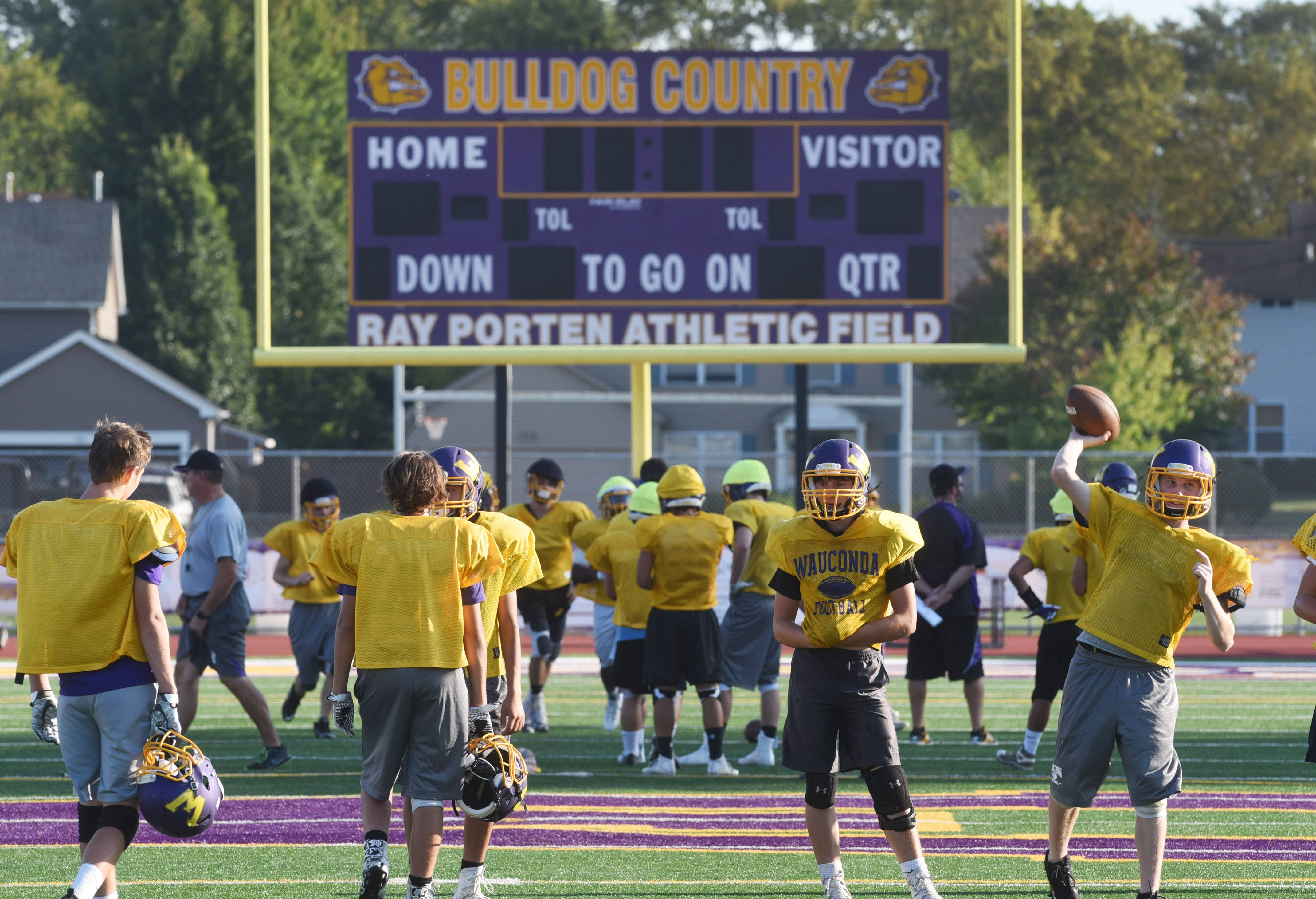 The Wauconda football team practices Wednesday on the turf.