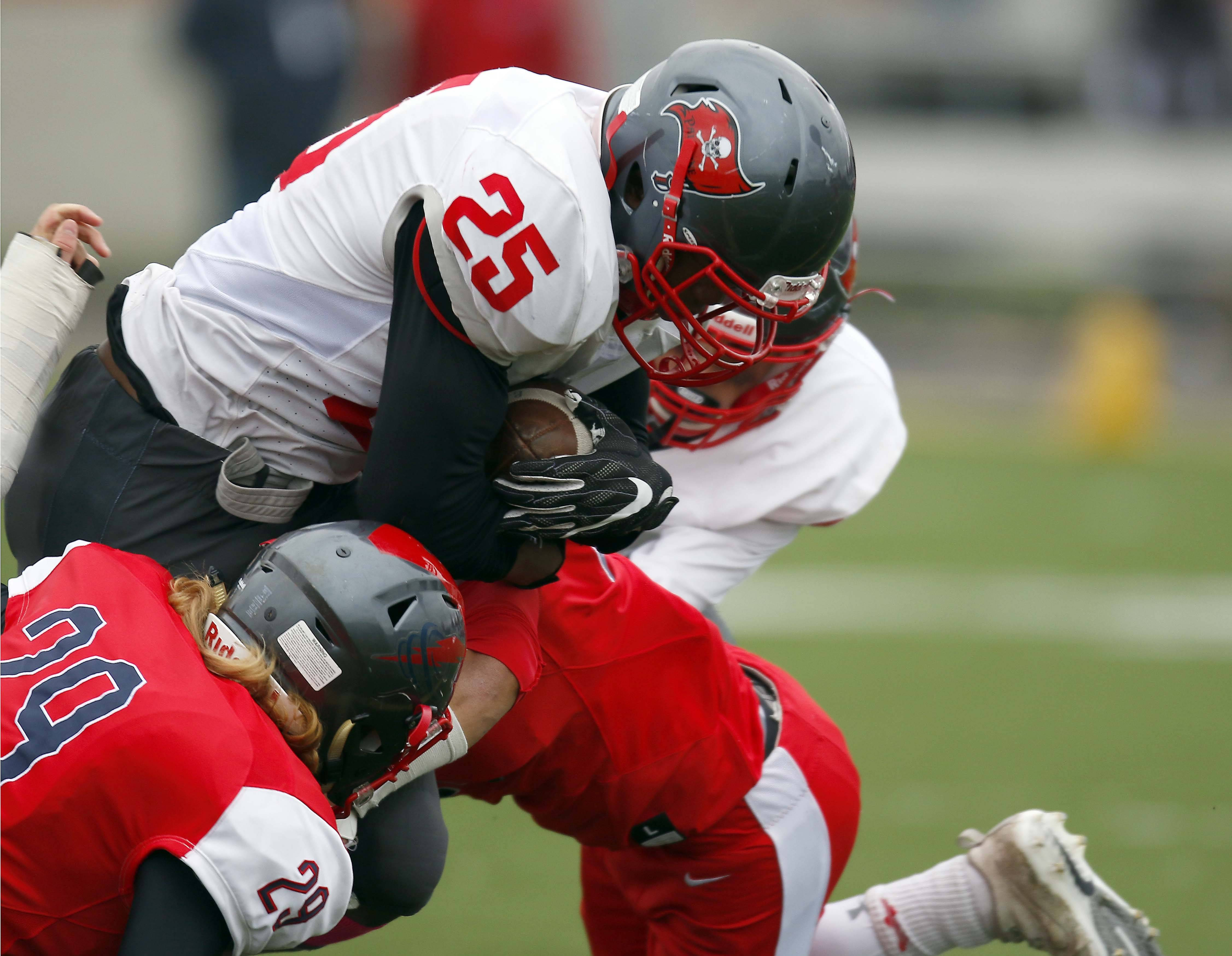 Palatine's Marcus Stoudemire (25) is hit by South Elgin's Jake Donat (29) and Saturday during Palatine vs. South Elgin Class 8A football playoffs at Millennium Field in Streamwood.