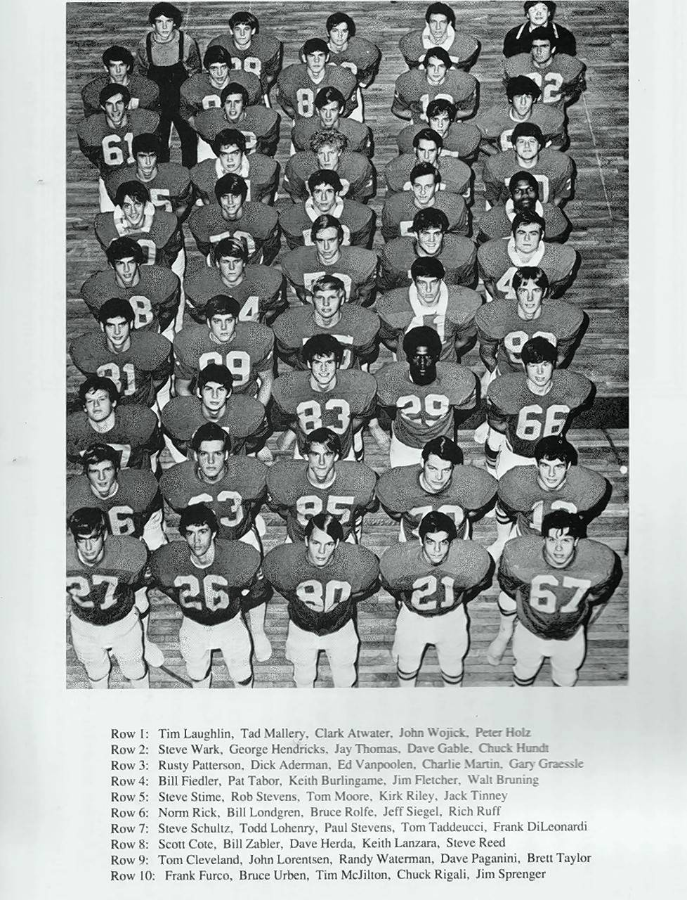 The 1974 Wheaton North football team photo.