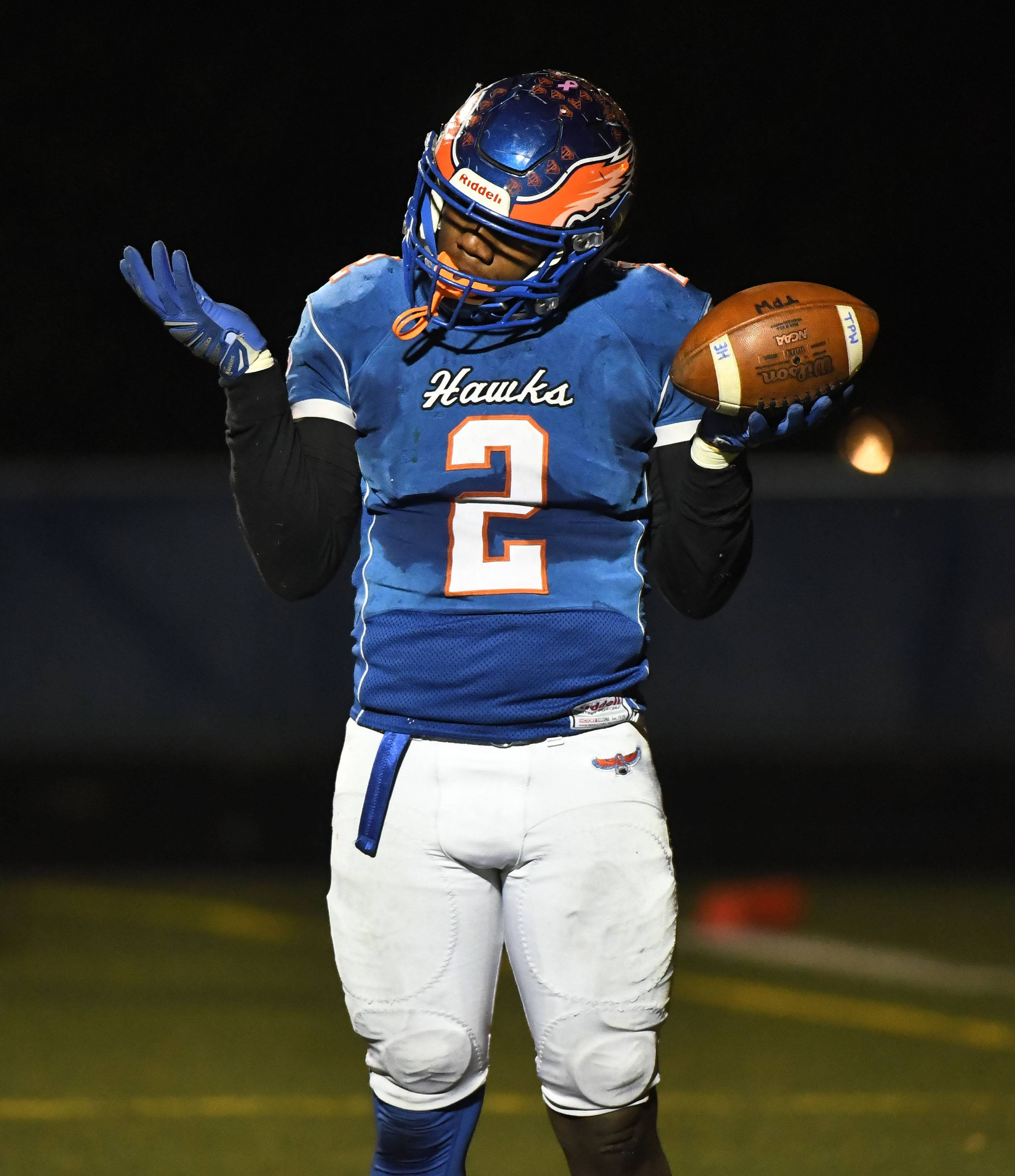 Hoffman Estates' Jaylan Alexander reacts after scoring in the second half against Prairie Ridge in the Class 6A semifinals Saturday at Hoffman Estates.