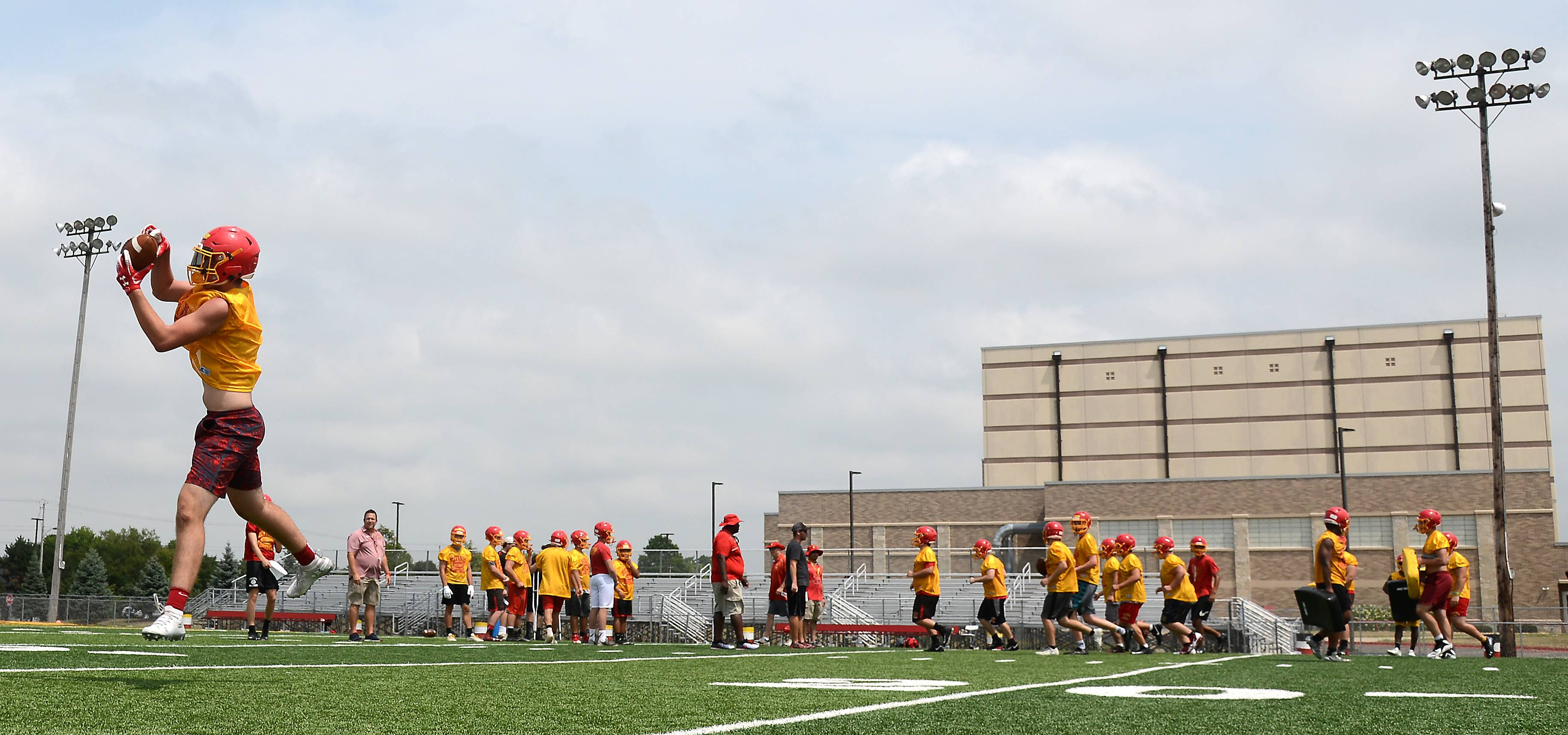 The defending state champion Batavia Bulldogs football team took the field Monday for the first day of football practice at Batavia High School.