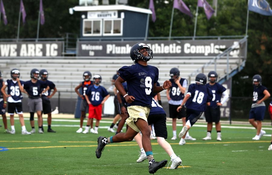 The Knights of IC Catholic Prep practiced on Monday at Lewis Stadium on the Plunkett Athletic Complex in Elmhurst.