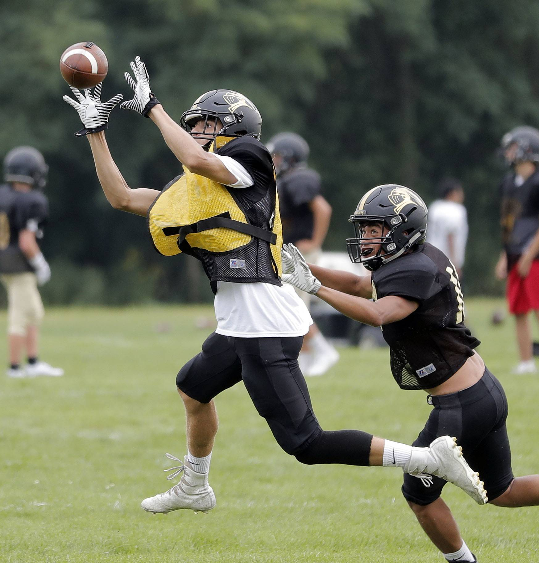 Steve Lundy/slundy@dailyherald.comDB Mickey Brown makes an interception during football practice at Grayslake North.