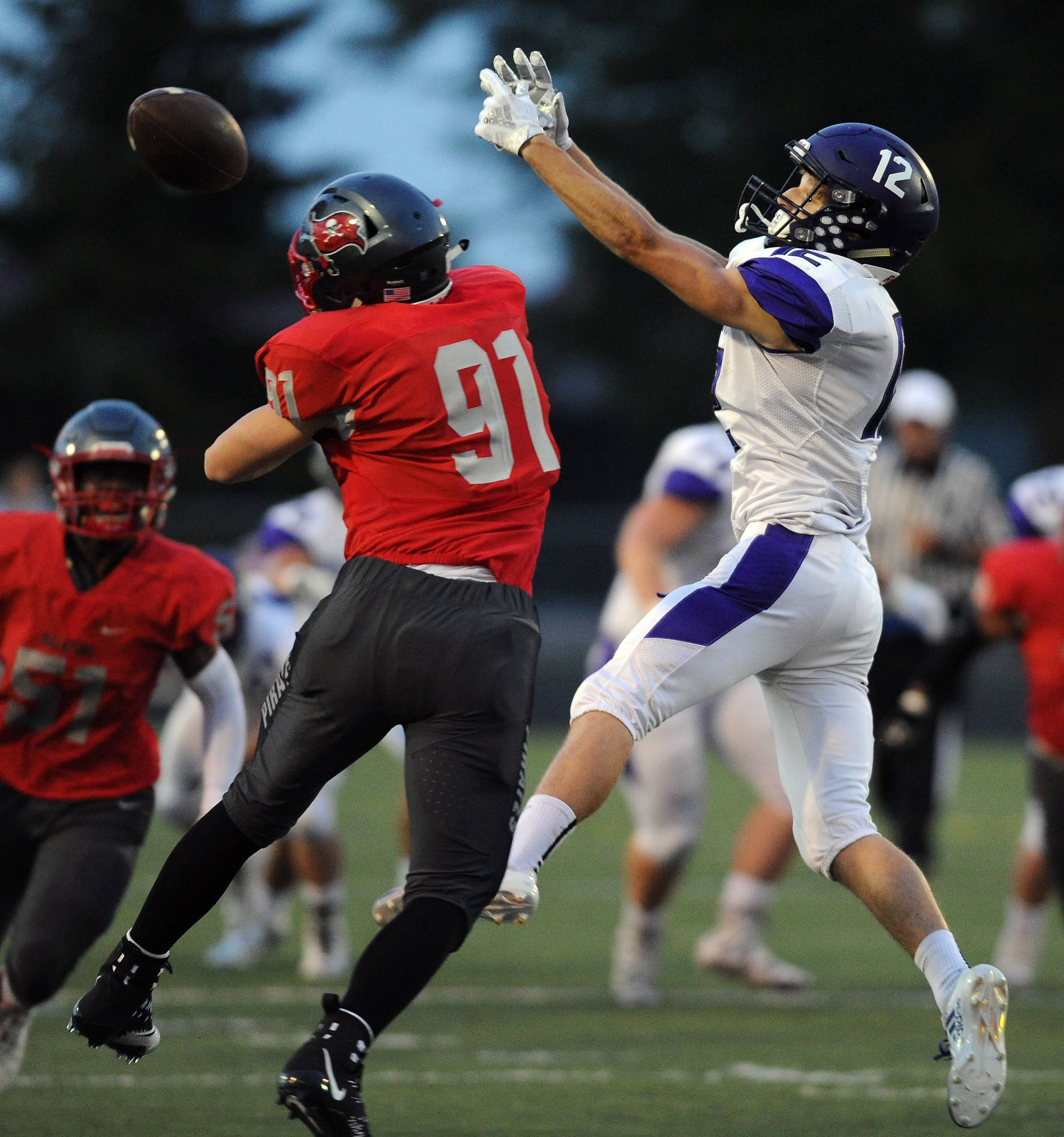 Palatine's Mossimo Vardamaskos breaks up a pass intended for Rolling Meadows' Charlie Svoboda in the in first quarter at Palatine on Friday.