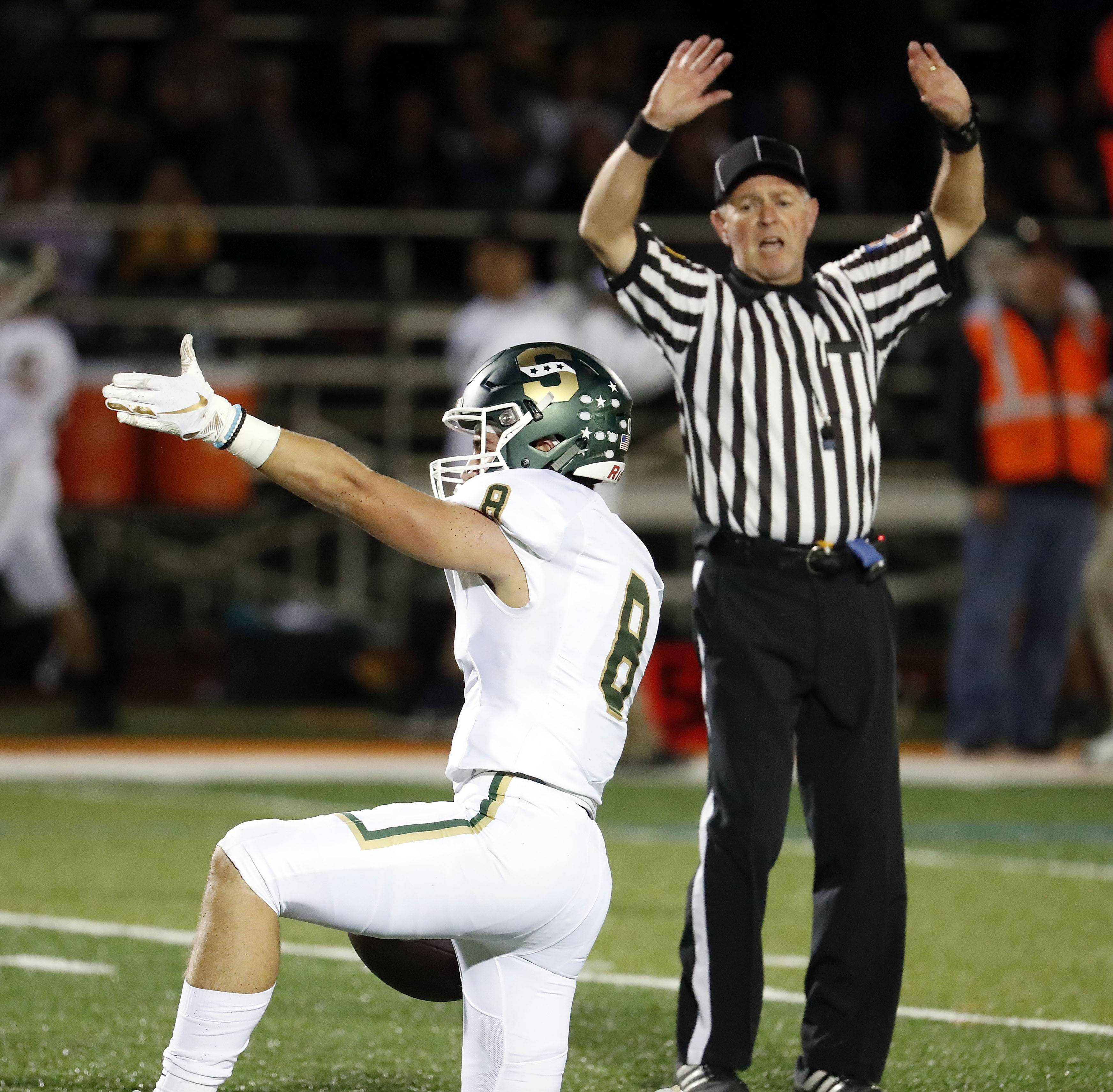 Stevenson's Ryan McElhinny celebrates after a catch during their game Friday night in Libertyville.