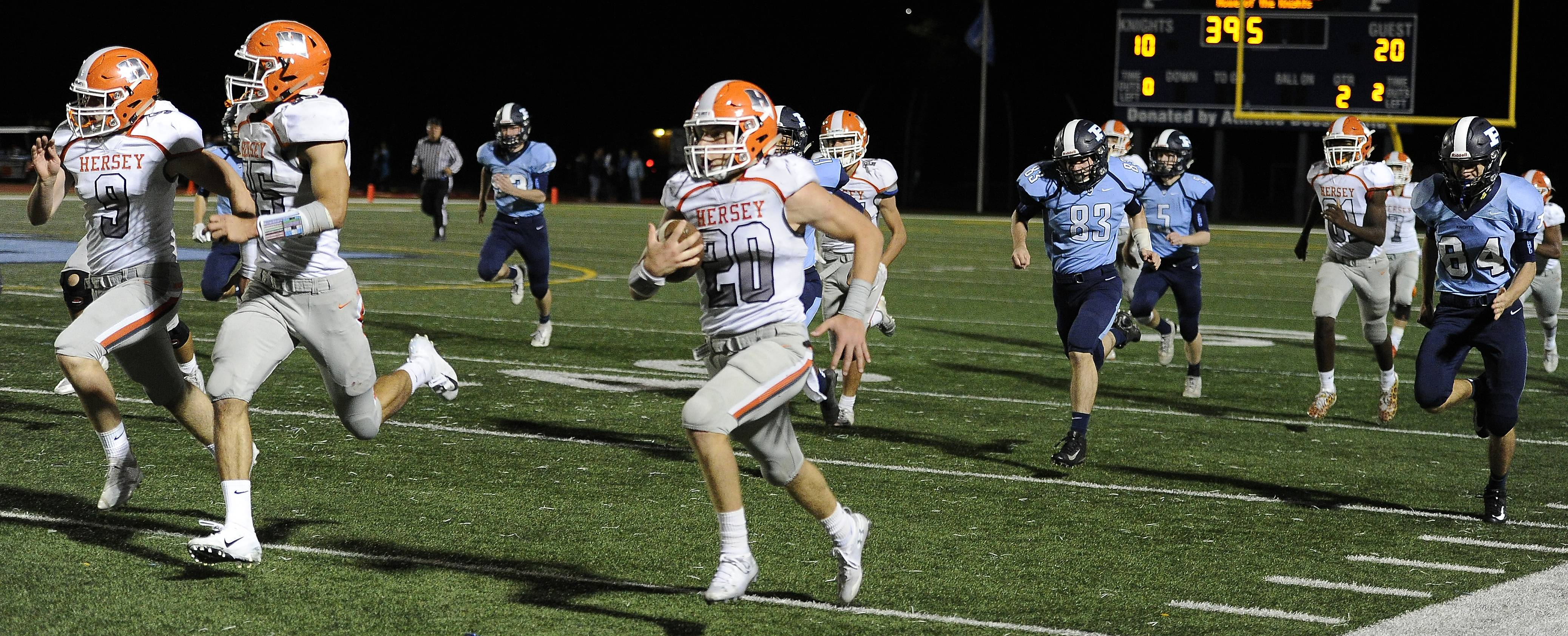 Hersey's Vince Carso runs back a 92-yard punt return late in the second quarter against Prospect last week. Hersey looks to go 6-0 Friday night when the Huskies host Buffalo Grove.
