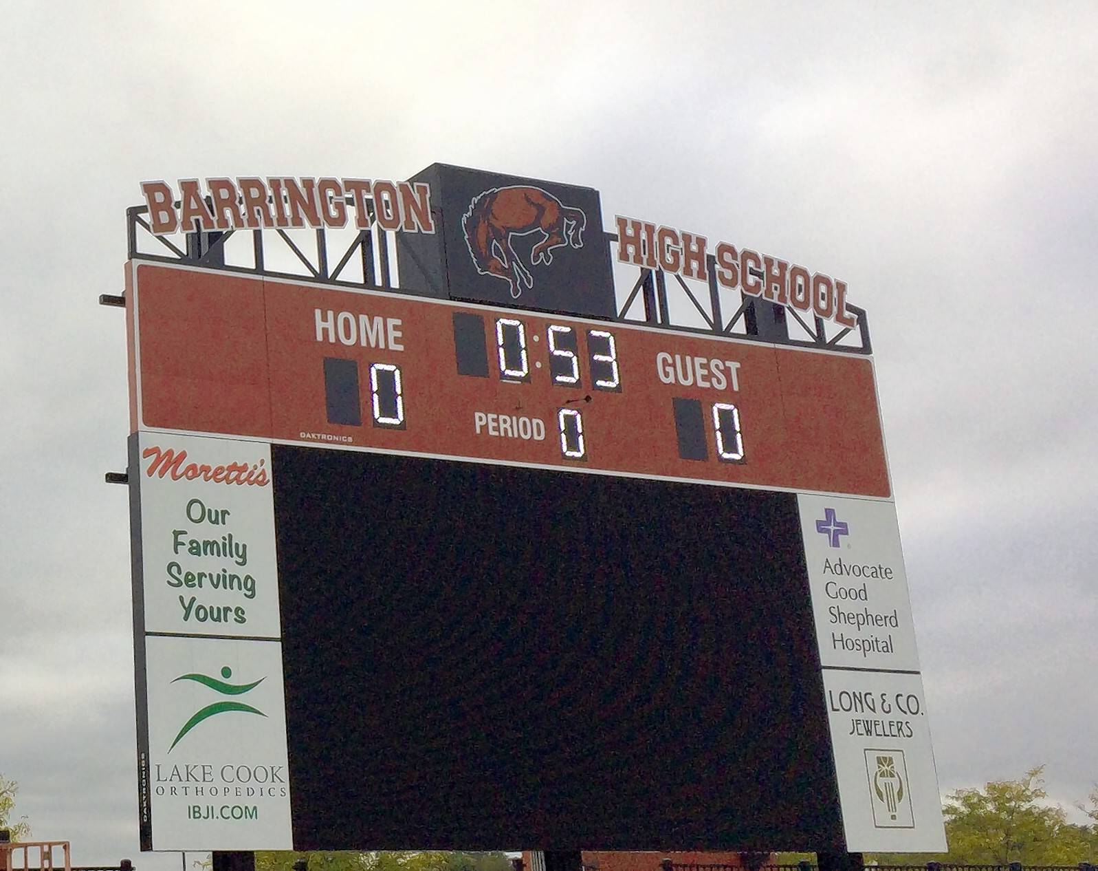 Barrington High School's last regular season home football game Oct. 19 is expected to feature the debut of a new video board more than three times larger than the previous display. The clock portion of the new scoreboard at Barrington Community Stadium has been operating since the season began.