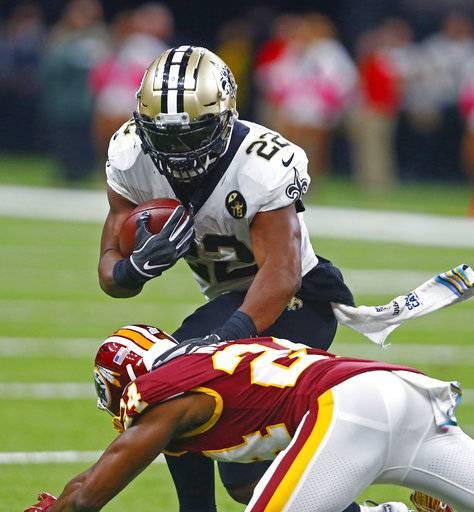 New Orleans Saints running back Mark Ingram (22) carries against Washington  Redskins cornerback Josh 19d3f6603