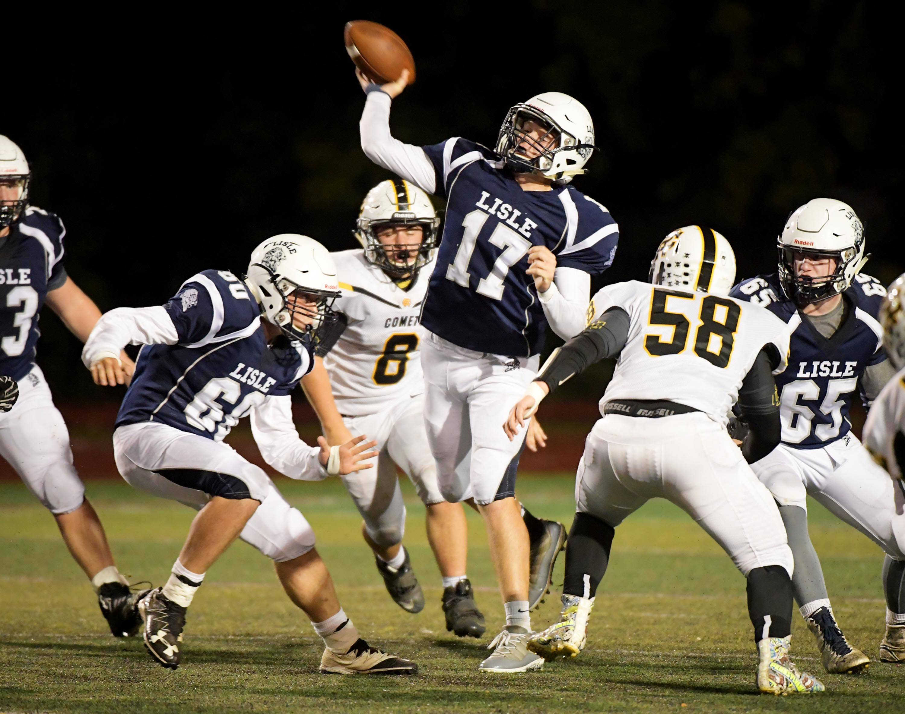 Led by quarterback Jay McGrath (17), Lisle will play at Coal City on Friday night with the goal of completing an undefeated regular season.