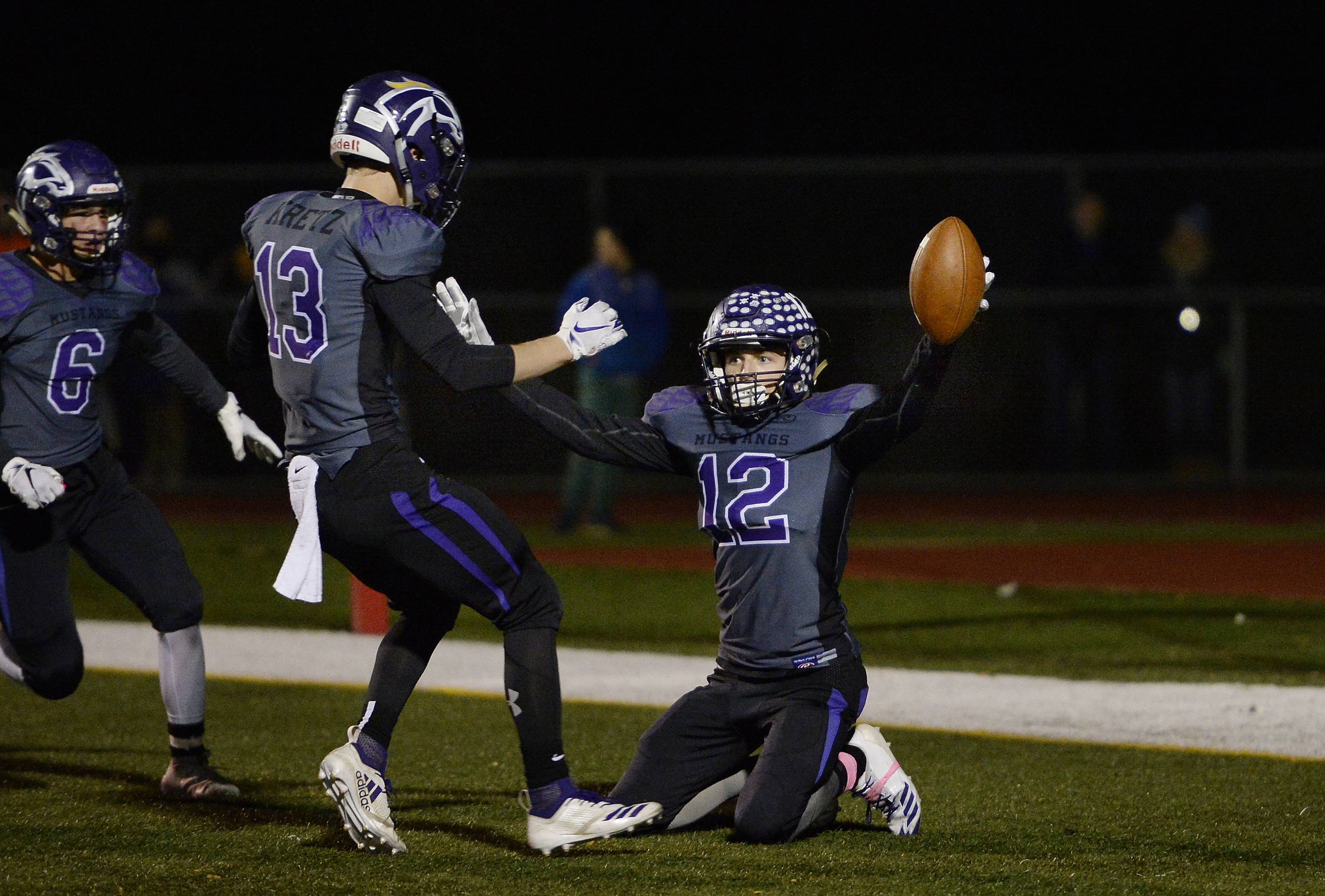 Rolling Meadows' Charlie Svoboda celebrates his fourth-quarter touchdown against Hersey last week. Meadows will host Alton in a first round Class 7A playoff game while Hersey entertains Lincoln-Way Central.