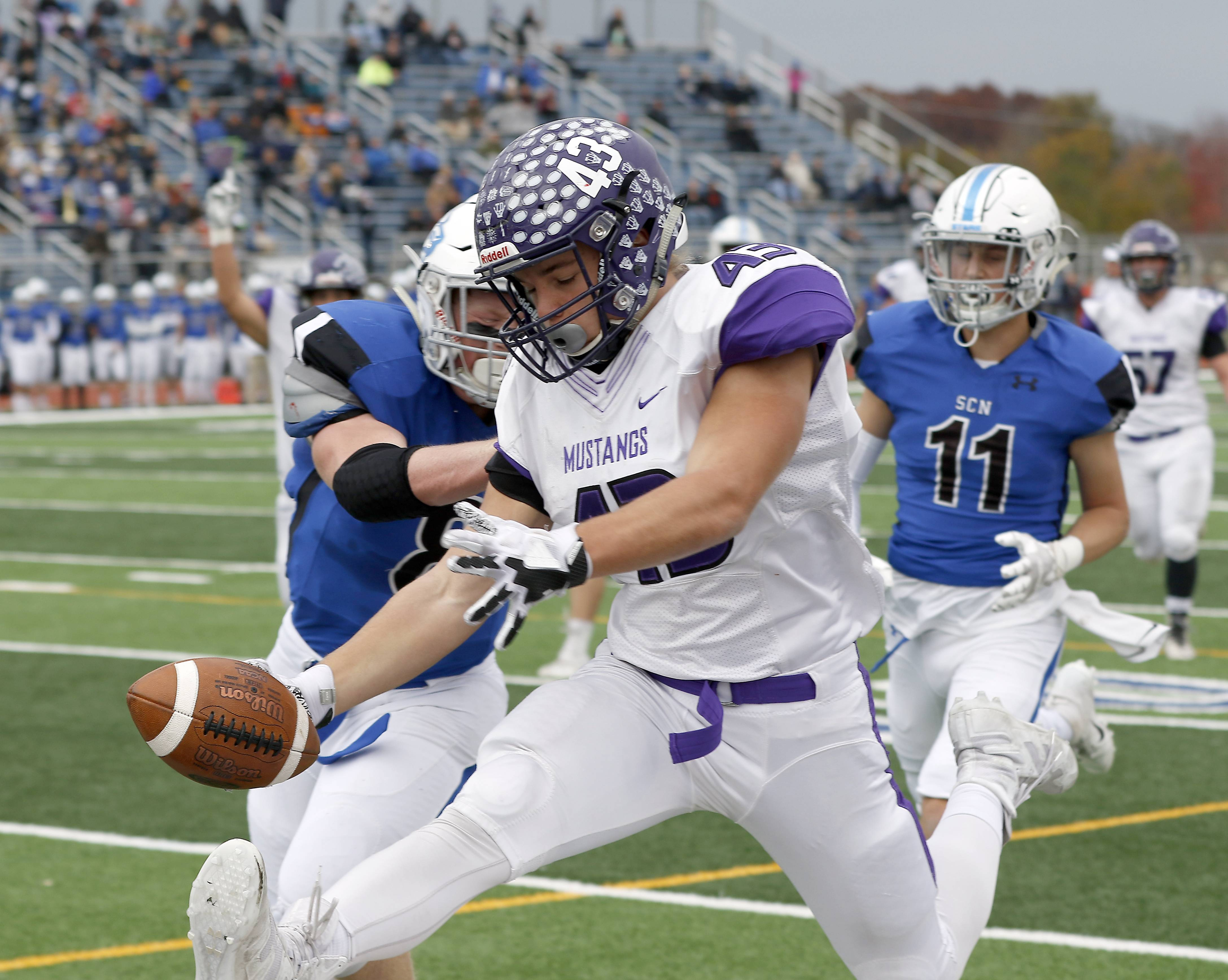 Rolling Meadows' Tymoteusz Szylak (43) heads in for a touchdown Saturday during IHSA Class 7A playoff football in St. Charles.