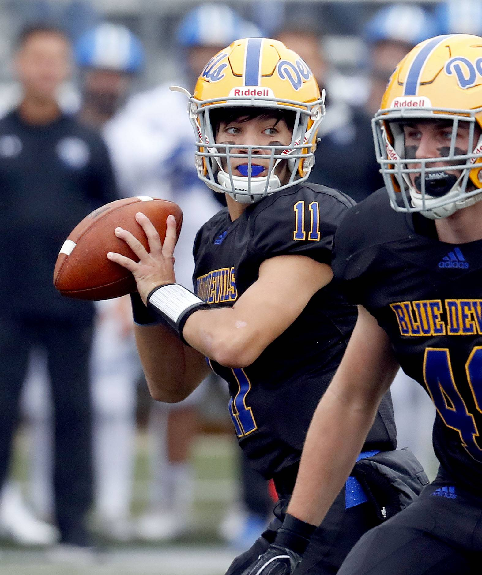 Warren quarterback Phil Hird looks to pass against Lake Zurich earlier this season. Warren travels to Brother Rice for a Class 8A quarterfinal game Saturday.
