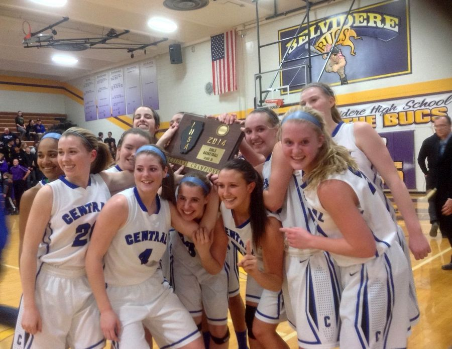 Burlington Central girls basketball, pictured celebrating a 2014 Class 3A sectional championship win over Rockford Lutheran, looks to be one of the Rockets' programs poised to have the most success when the school transitions to the Fox Valley Conference next year.