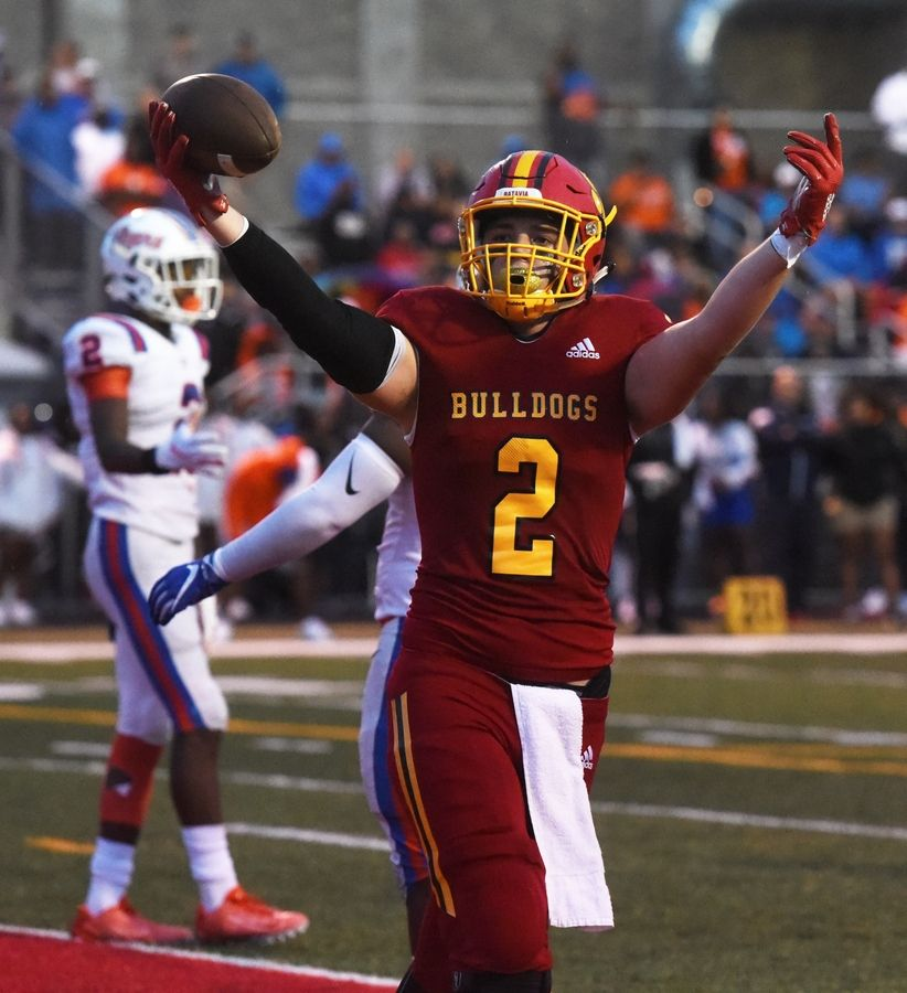 Batavia's Drew Iutzwig celebrates his touchdown during the second quarter of the Bulldog's home game against East St. Louis Saturday.