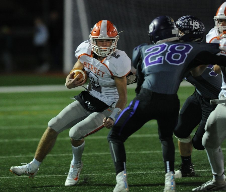 Quarterback Jordan Hansen, left, will lead Hersey into battle against Fremd Friday night in Arlington Heights in the Northwest Suburbs Game of the Week.