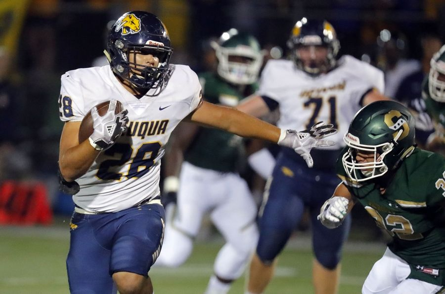 Neuqua Valley's Armani Moreno, left, tries to get around Stevenson's Jordan Vincent during their game Friday in Lincolnshire.