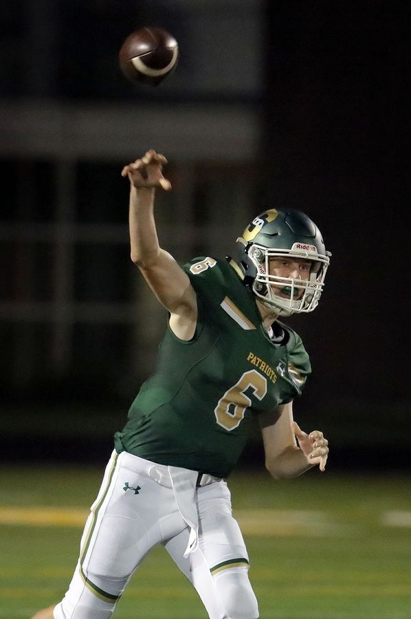 Stevenson's Justin Hiller throws during their game against Neuqua Valley Friday in Lincolnshire.