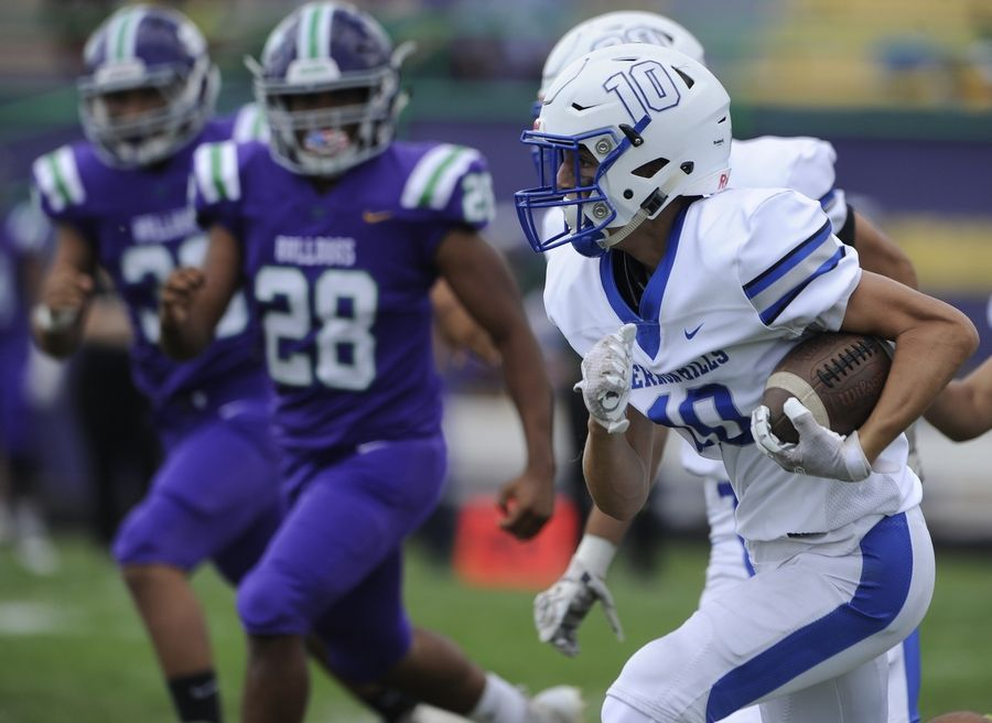 Vernon Hills was impressive from the opening kickoff return from Luke Lutgens as he heads downfield for major yardage in the varsity football matchup against Waukegan in Waukegan on Saturday.