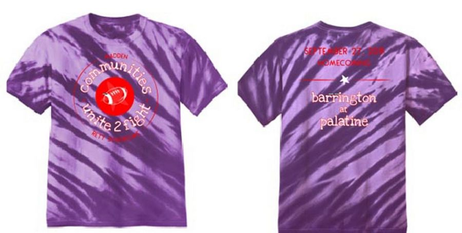 The football teams from Palatine and Barrington high schools will be holding a fundraiser for Rett syndrome, in honor of five-year old Madden Manz, at next week's Palatine Homecoming game. T-shirts like the one above will be sold as part of the fundraiser.
