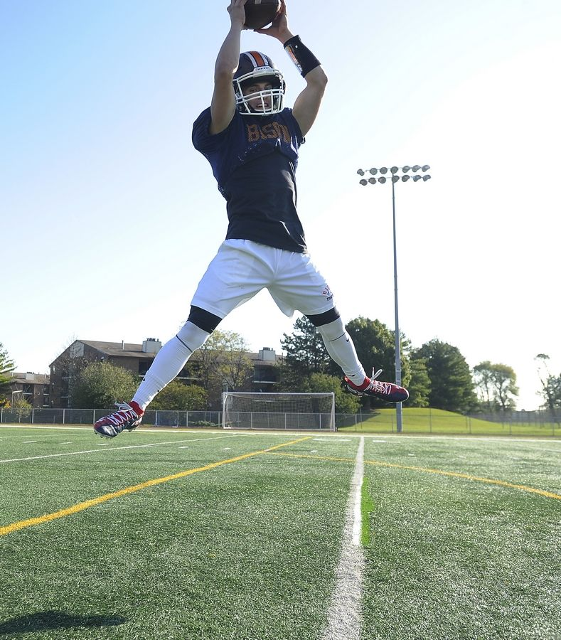 Buffalo Grove senior Max Oberman is only 5-foot-6 but that doesn't stop him from reaching new heights on the football field during practice and at game time.