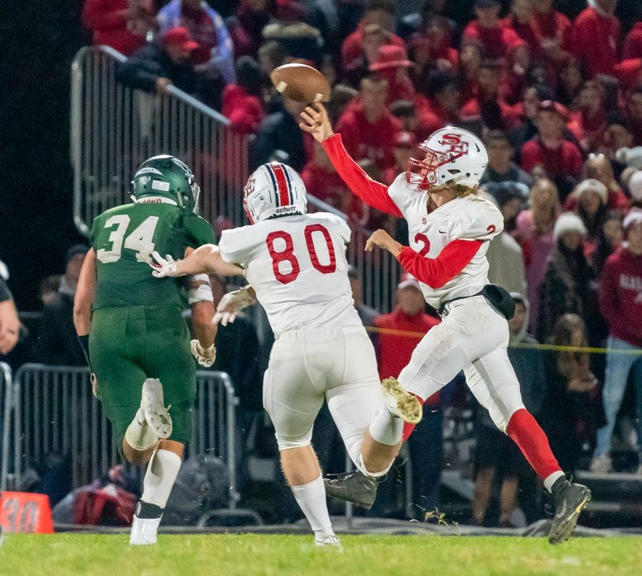 South Elgin's Ben Karpowicz (2) throws a pass against Bartlett at Bartlett High School in Bartlett, IL on Friday, October 18, 2019