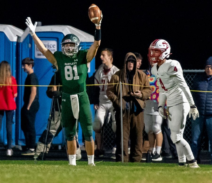 Bartlett's Mathew Young (81) celebrates after scoring a touchdown against South Elgin at Bartlett High School in Bartlett, IL on Friday, October 18, 2019