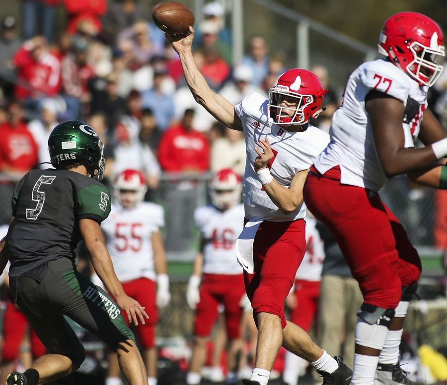 Hinsdale Central's Michael Brescia passes the ball against Glenbard West in Glen Ellyn Oct. 19.