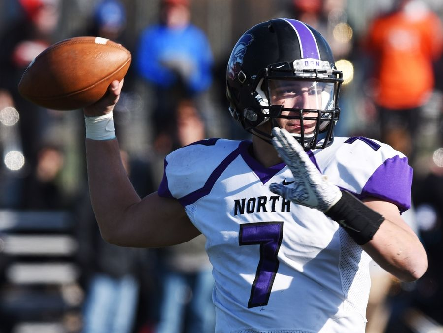 Downers Grove North quarterback Drew Cassens throws a pass during Saturday's game against Wheaton Warrenville South.