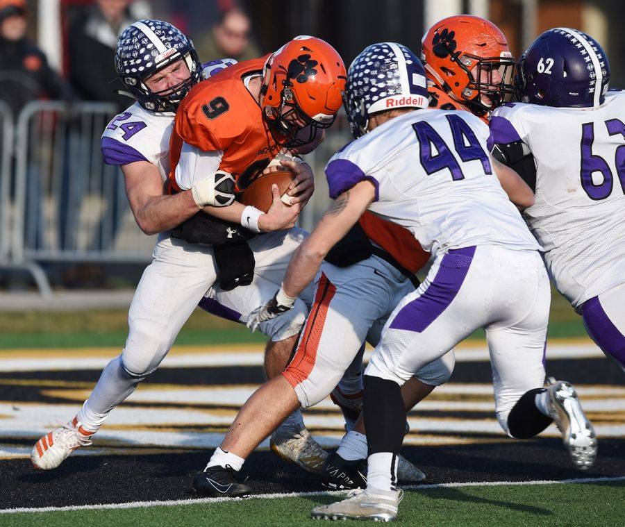 Rolling Meadows' Sean Nolan, left, and Kevin Jacks tackle Wheaton Warrenville South quarterback Parker Brown at the Tigers' 1-yard line during last week's Class 7A quarterfinal game in Wheaton. Meadows hosts Nazareth in Saturday's semifinal contest at 1 p.m.