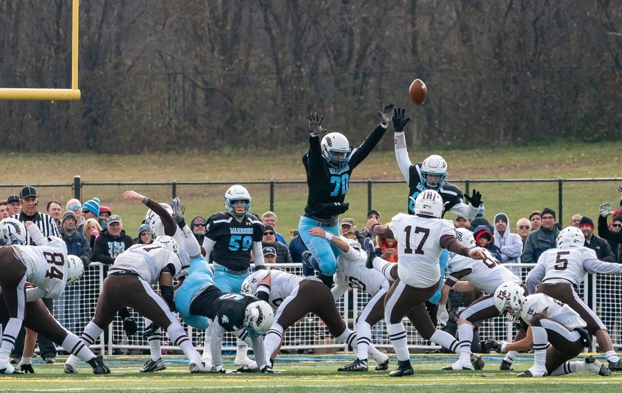 Willowbrook's Enrique Cruz (70) and Brian Dilger (66) attempt to block a field goal attempt by Mt.Carmel's Julian Patino (17) during a 7A semifinal football game at Willowbrook High School in Villa Park, IL on Saturday, November 23, 2019