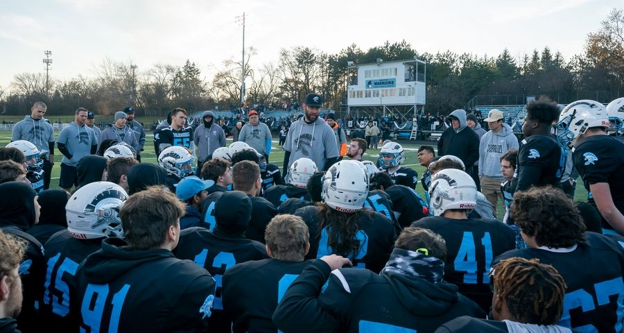 Willowbrook's head coach Nick Hildreth talks to his team after a season ending loss to Mt.Carmel after a 7A semifinal football game at Willowbrook High School in Villa Park, IL on Saturday, November 23, 2019