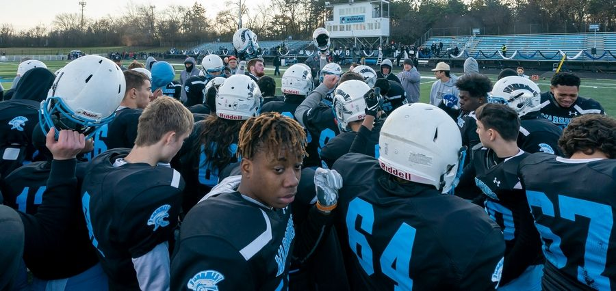 Willowbrook breaks their last huddle of the season after a season ending loss to Mt.Carmel in a 7A semifinal football game at Willowbrook High School in Villa Park, IL on Saturday, November 23, 2019