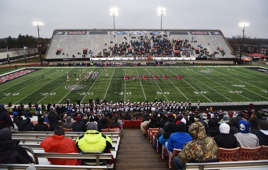 Fans watch as Prairie Ridge plays East St. Louis during the IHSA Class 6A state football title game at Northern Illinois University in DeKalb Saturday.