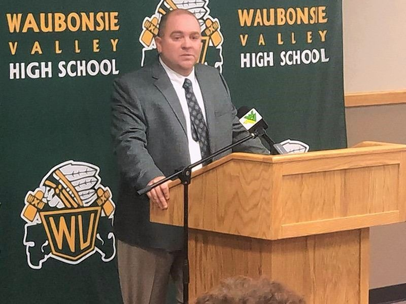Photo courtesy of Waubonsie Valley High SchoolTom Baumgartner is introduced Tuesday as the new Waubonsie Valley football coach.
