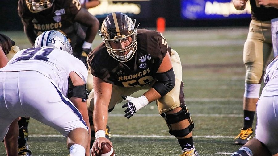 Luke Juriga, at center for Western Michigan University, has signed with the Philadelphia Eagles.