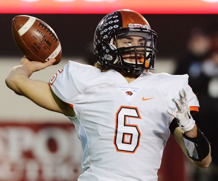 Libertyville quarterback Riley Lees throws a pass during the Class 7A football championship game in 2015.