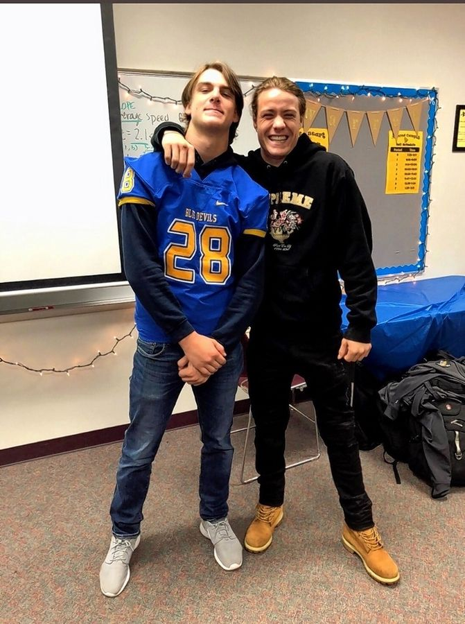 COURTESY OF PATRICK SHARPEFormer Warren football player Tate Hankla, right. with best friend Patrick Sharpe. Hankla, 19, died in his sleep earlier this month and his tight-knit group of friends as well as a large segment of the Warren community has been reeling with grief.