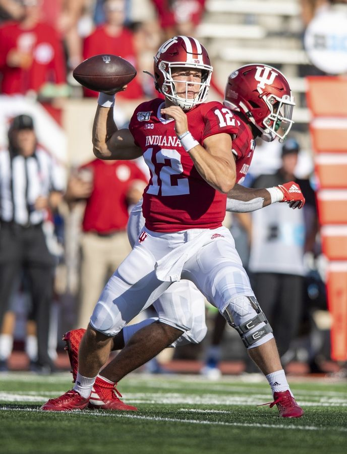 Then-Indiana quarterback Peyton Ramsey drops back to pass against EIU last season. Ramsey is now competing for the starting QB job at Northwestern.