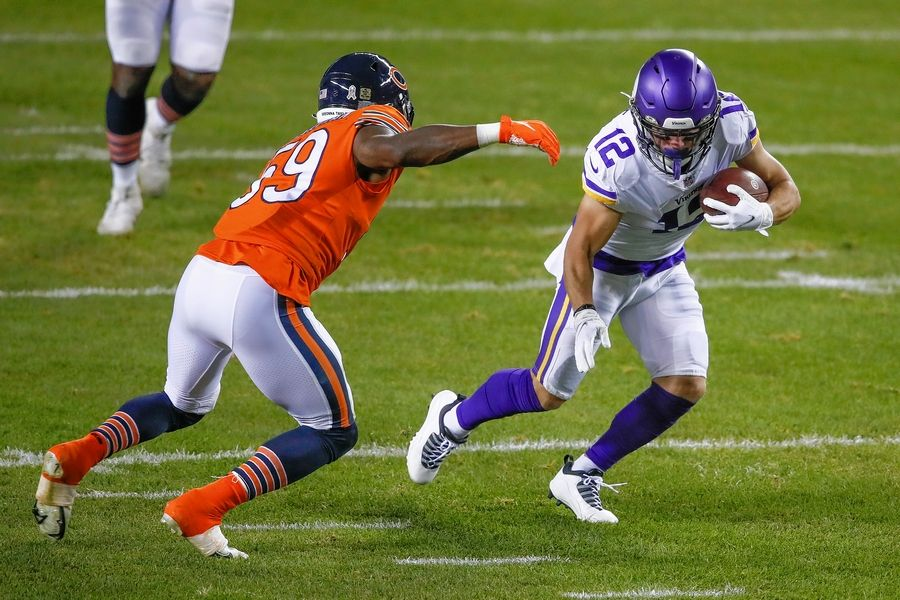 Minnesota Vikings wide receiver Chad Beebe is defended by Bears linebacker Danny Trevathan in the Nov. 16 game at Soldier Field.