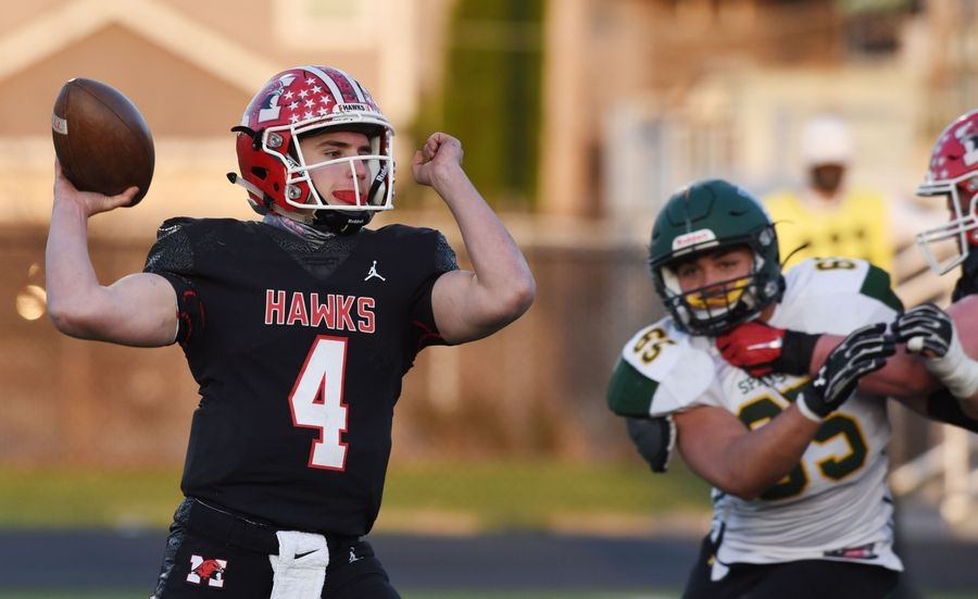 Joe Lewnard/jlewnard@dailyherald.comMaine South quarterback Luke Leongas throws a pass during Saturday's game against Glenbrook North.